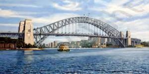 Die Harbour Bridge in Sidney wird durch Sandstrahlen gewartet